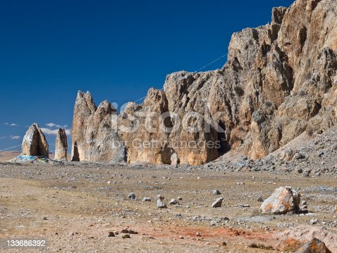 Holy rocks with praying flags at the end of peninsula of Namtso lake  which is  the highest salt lake in the world, with altitude of 4718 m. Tibet