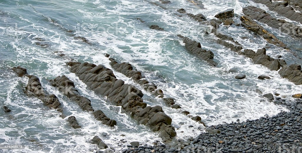 Rock formation off North Devon Coast stock photo