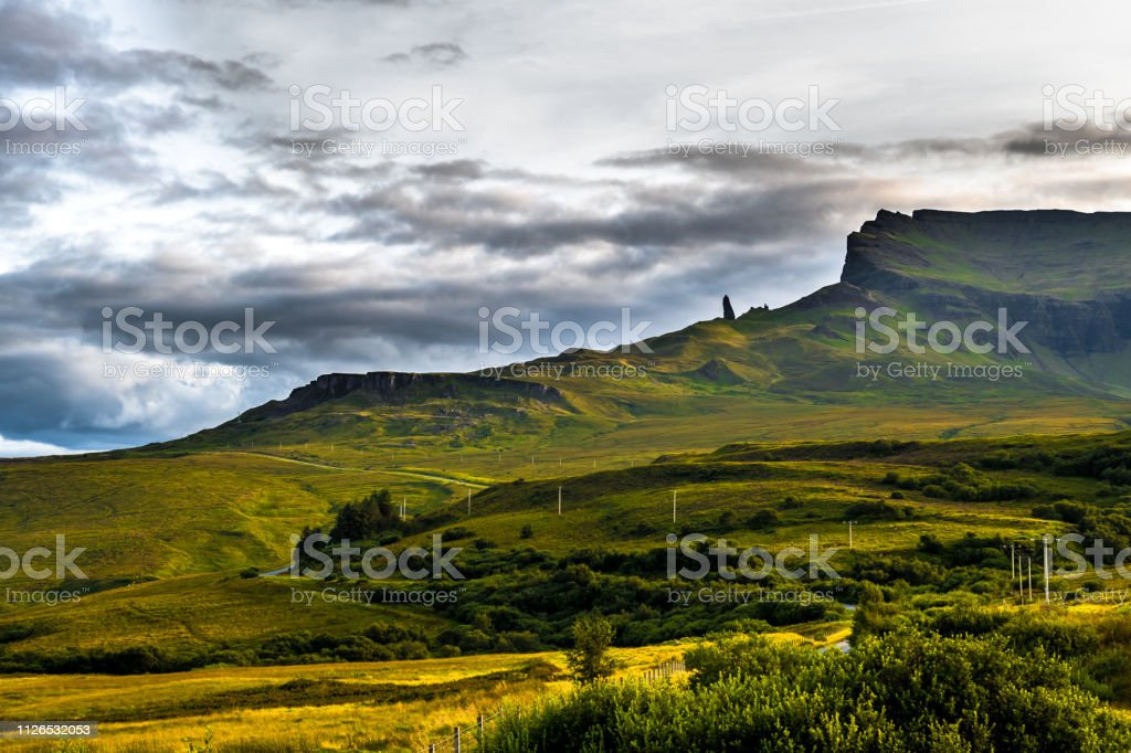 Rock Formation Old Man Storr In Scenic Landscape With Road On The Isle Of Skye In Scotland stock photo