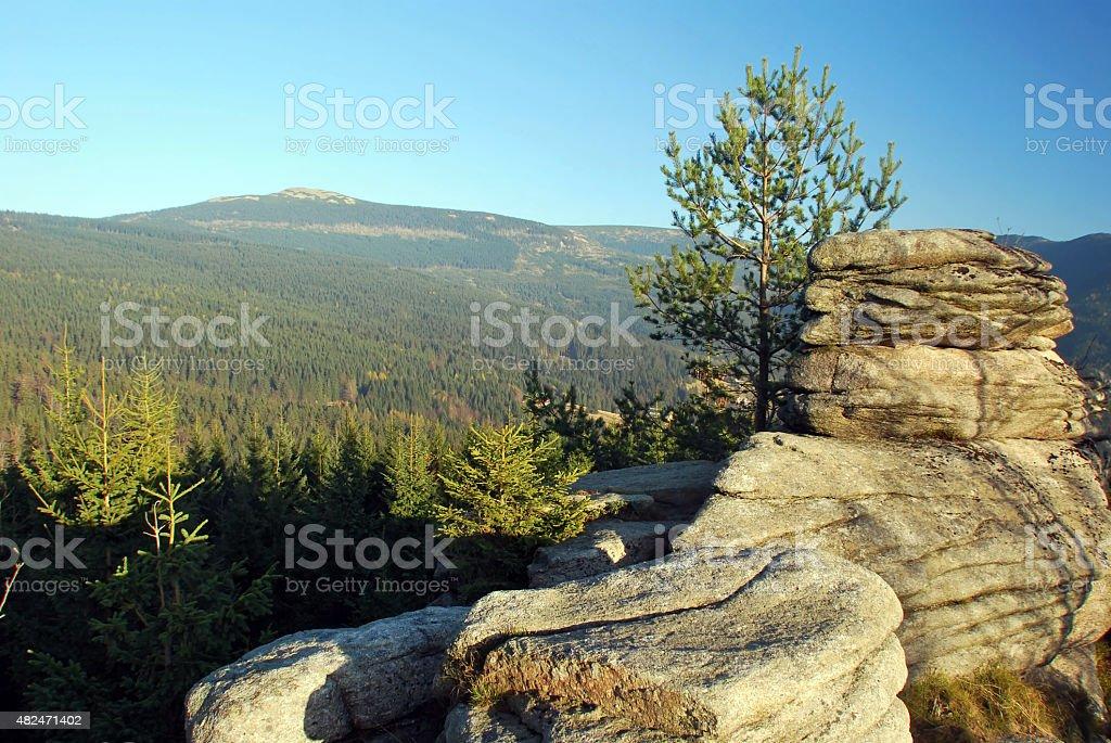 rock formation on Pevnost hill in Krkonose stock photo