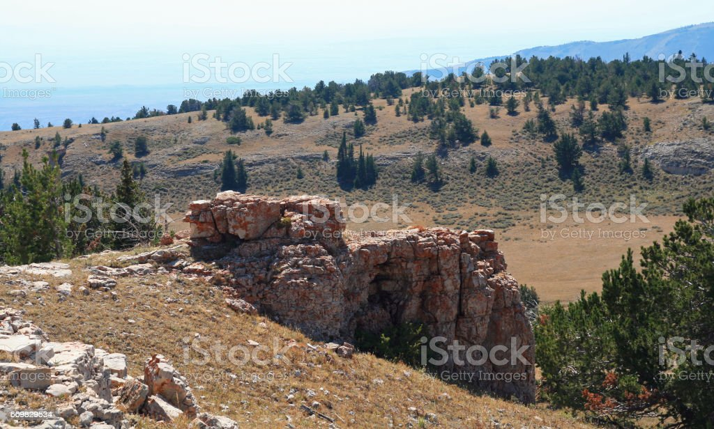 Rock formation on Sykes Ridge overlooking the Big Horn National Recreation Area on the Wyoming Montana state line USA stock photo