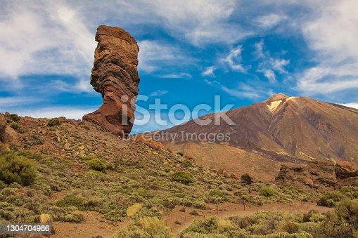 istock Rock formation Roque Cinchado with Pico del Teide at far. Tenerife, Canary, Spain 1304704986