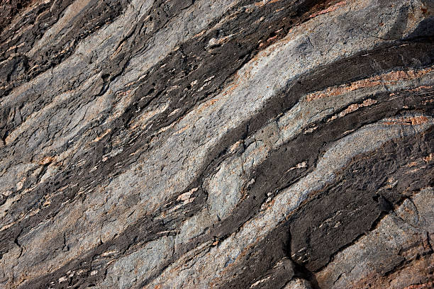 Rock formations along Maine Coast, USA stock photo