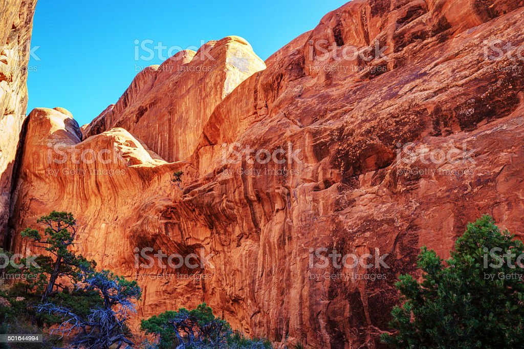 Rock formations in Devils Garden, Arches National Park stock photo