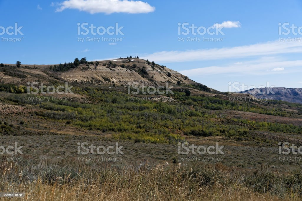 Rock formations in Fossil Butte National Monument stock photo
