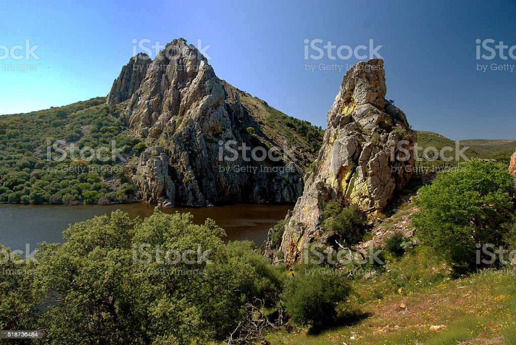 Rock formations in Monfrague National Park, Spain stock photo