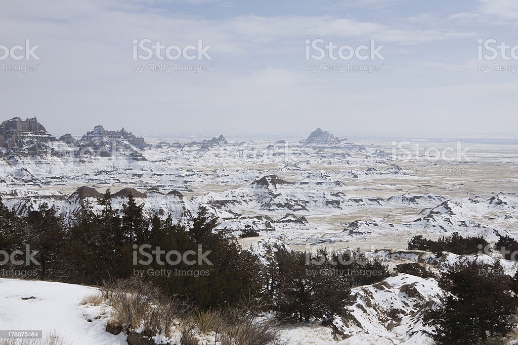 Rock formations in the Badlands National Park, South Dakota royalty-free stock photo