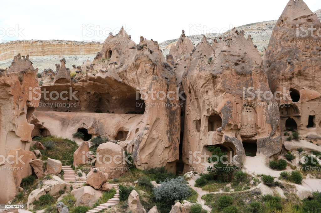Rock Formations in Zelve Valley, Cappadocia stock photo