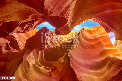 multicolored rock formations inside the antelope canyon
