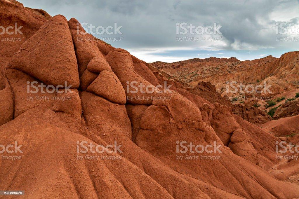 Rock formations known as Fairy Tale Castle in Kaji Say, near the Issyk Kul, in Kyrgyzstan. stock photo