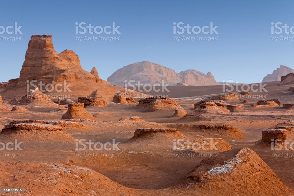 Rock formations known as Kalutes in the Lut Desert in Iran. stock photo