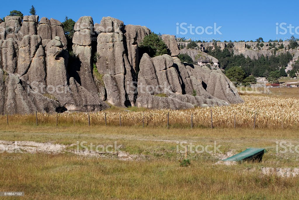 Rock formations of Copper Canyons, Chihuahua, Mexico stock photo
