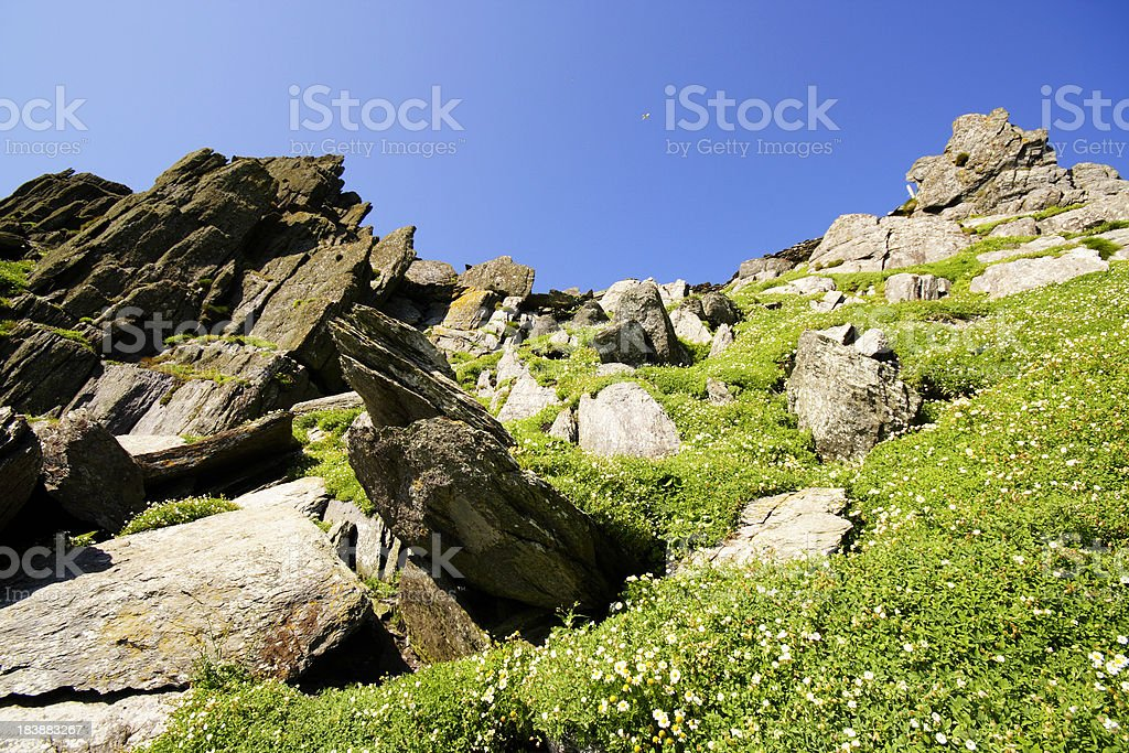 Rock formations on Skellig Michael stock photo