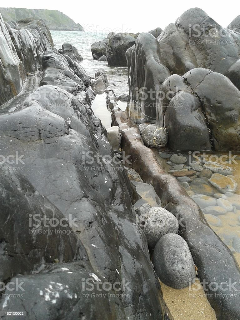 Rock formations on the coast stock photo