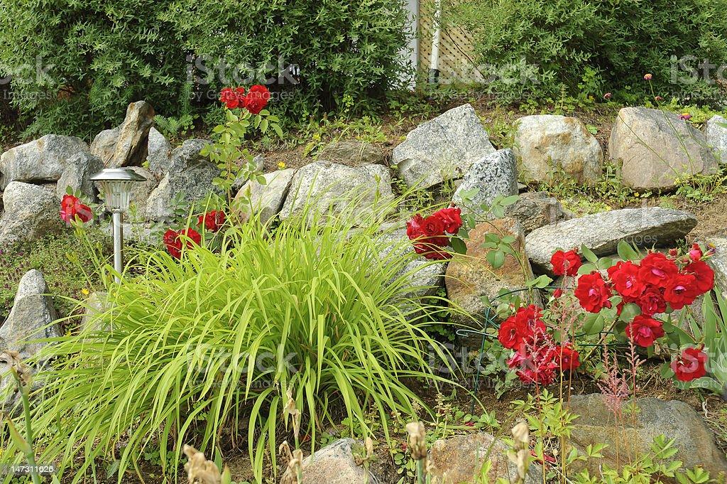 rock garden with solar lamp stock photo