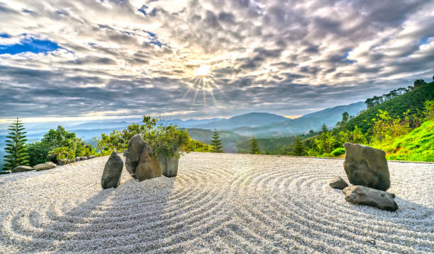 steingarten mit den strahlen der sonne am himmel strahlt schafft eine friedliche atmosphäre - japanischer garten stock-fotos und bilder