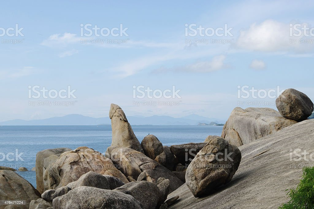 Rock Grandfather (Hin Ta),  Lamai beach, Koh Samui, Thailand. stock photo