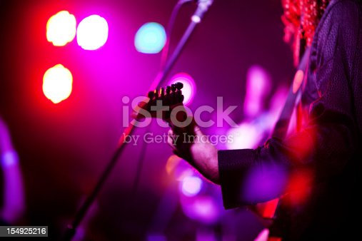 Defocused rock band in concert,  ambient light and smoke. Good for background