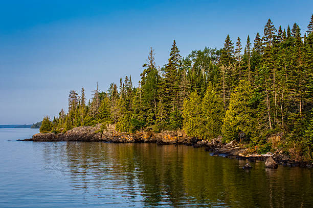rock harbor, isle royale national park, michigan, usa - lakeshore stock photos and pictures