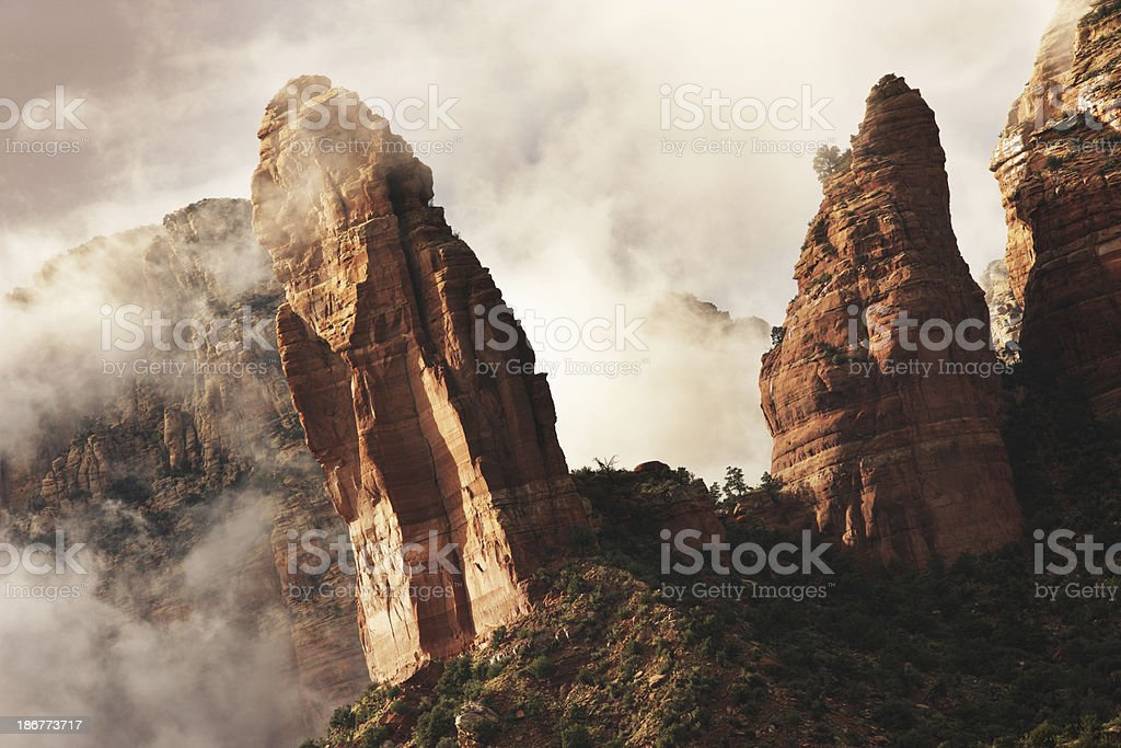 Rock Hoodoo Pinnacle Storm Mist Landscape royalty-free stock photo