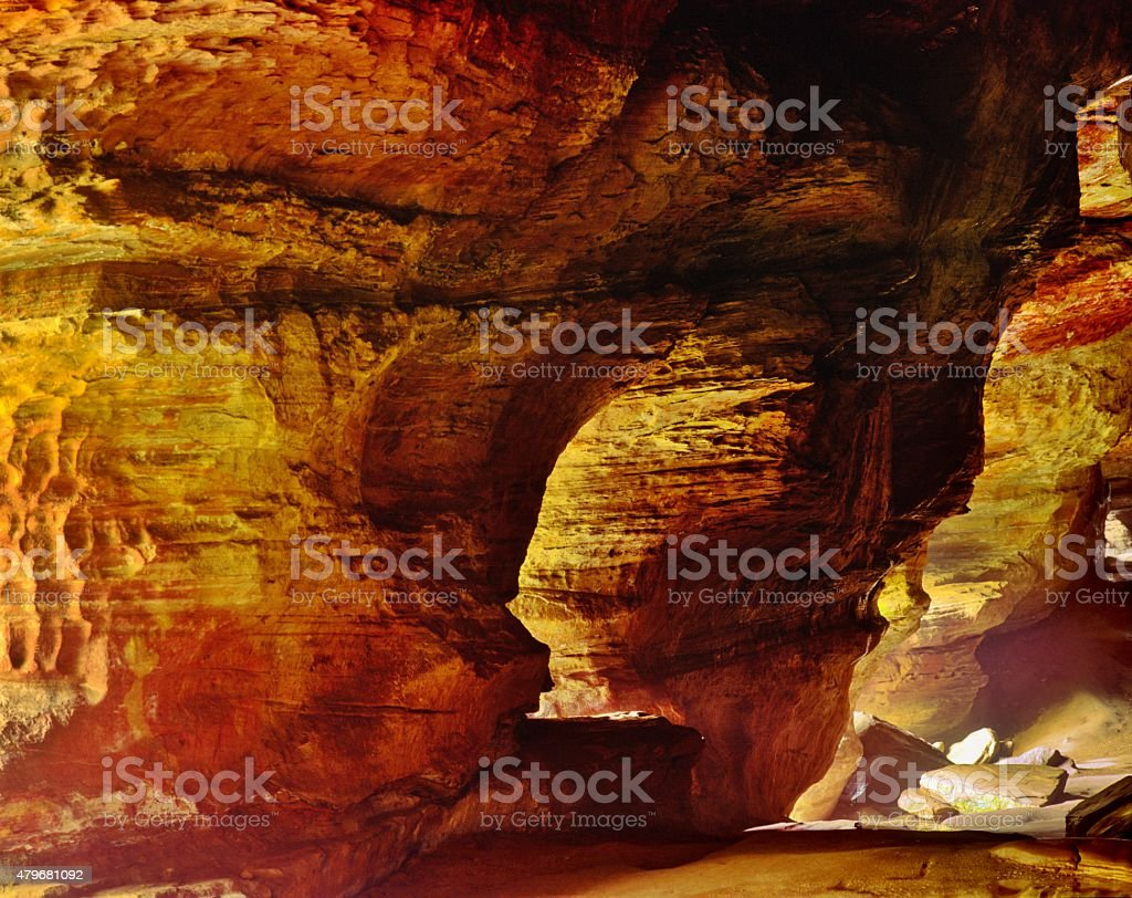 Rock House in Hocking Hills at Dawn stock photo