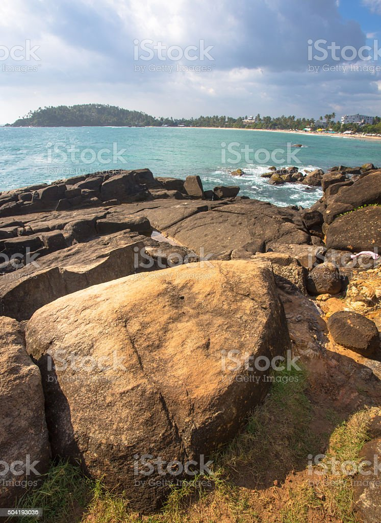 Rock in foreground stock photo