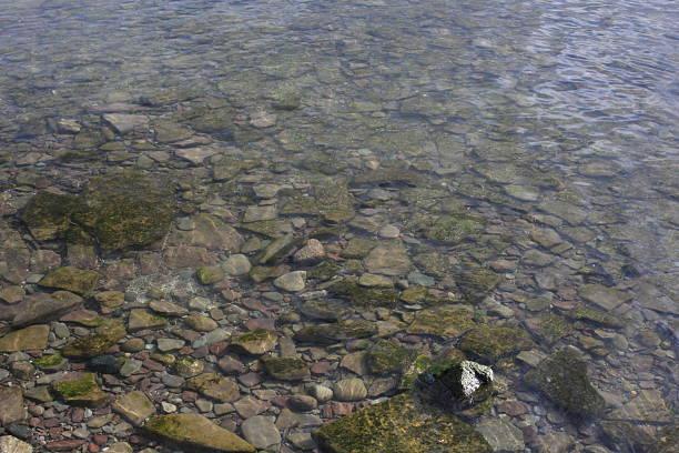 rock in lake stock photo
