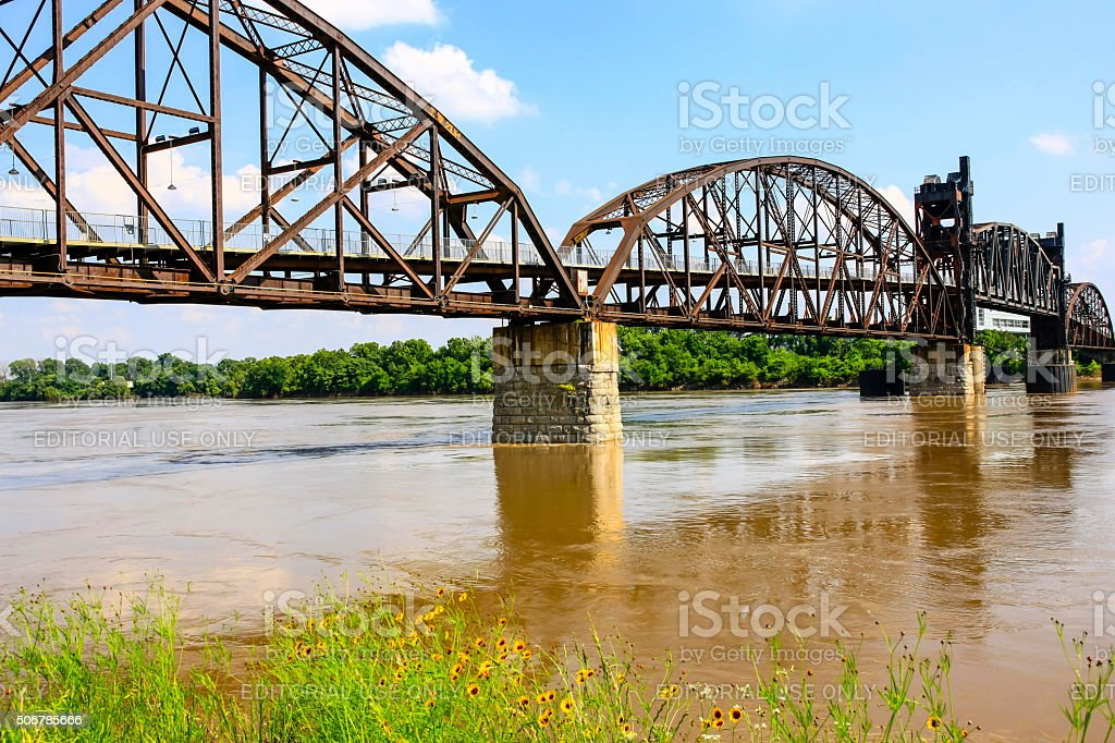 Rock Island Bridge across the Arkansas River in Little Rock stock photo