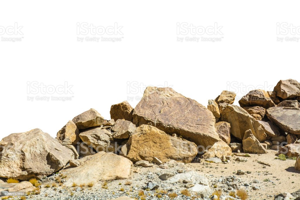 rock isolated on white background - Foto stock royalty-free di Aspetto naturale