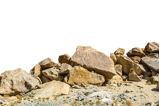 Rock Isolated On White Background - Fotografie stock e altre immagini di Aspetto naturale