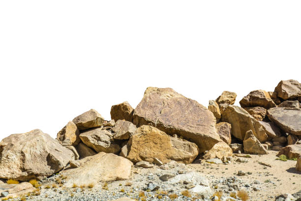 rock isolated on white background - penedo imagens e fotografias de stock