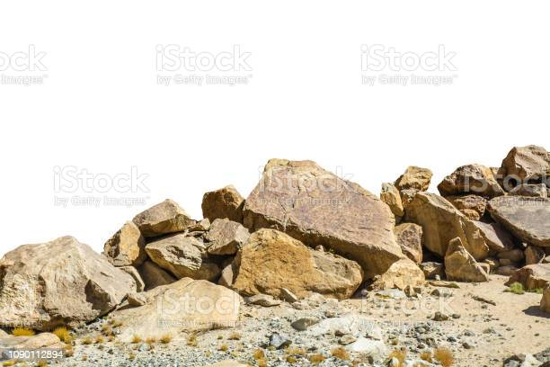 Photo of rock isolated on white background