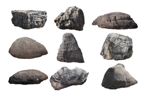 rock isolated on white background. - penedo imagens e fotografias de stock