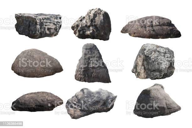 Photo of rock isolated on white background.