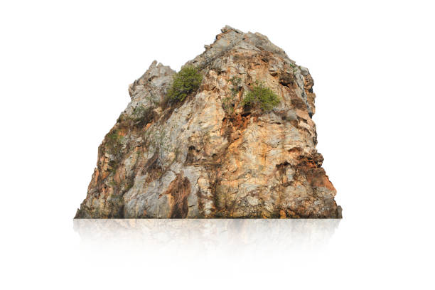 Rock isolated on white background Boulder - Rock, Rock - Object, Thailand, Cliff, Landscape - Scenery rock object stock pictures, royalty-free photos & images