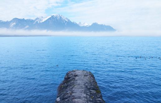 Rock jetty in lake