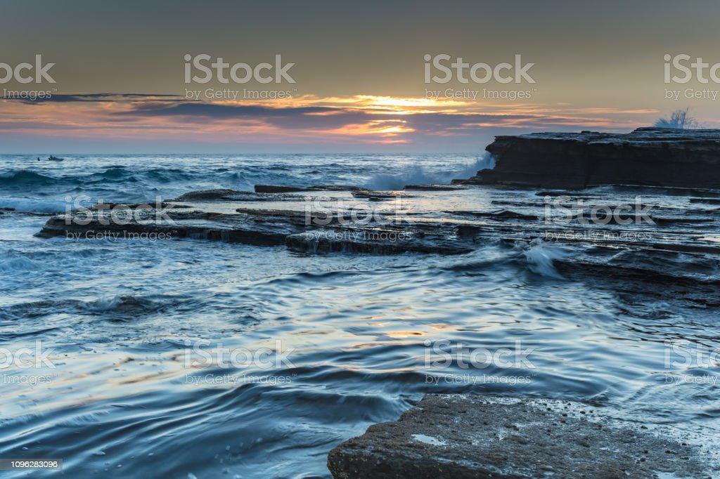 Rock Ledge and Seascape stock photo
