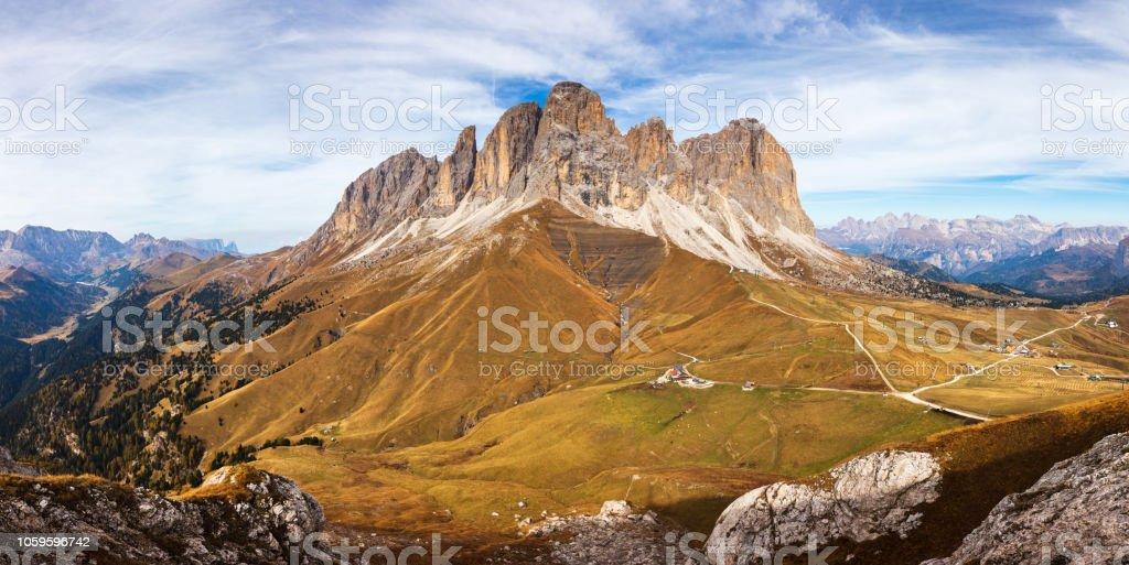 Rock Masiff in Dolomite Mountains stock photo