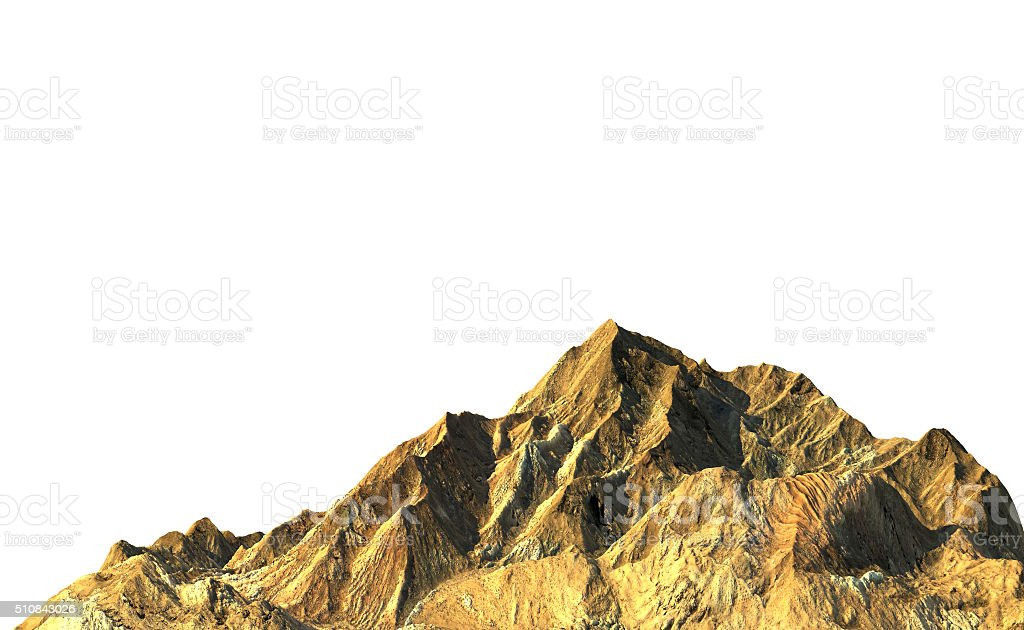 Rock mountain on white background, 3D render