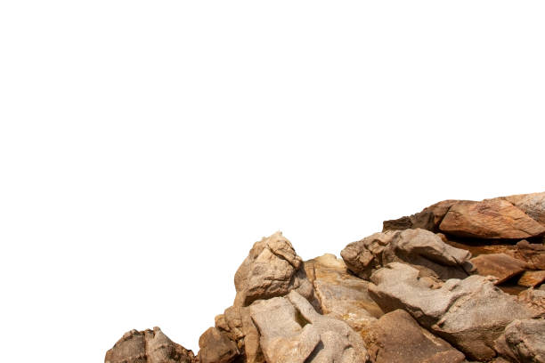 Rock mountain slope or top foreground close-up isolated on white background. Element for matte painting, copy space. Rock mountain slope foreground close-up isolated on white background. Element for matte painting, copy space. rock object stock pictures, royalty-free photos & images