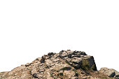 istock Rock mountain slope or top foreground close-up isolated on white background. Element for matte painting, copy space. 1263456085