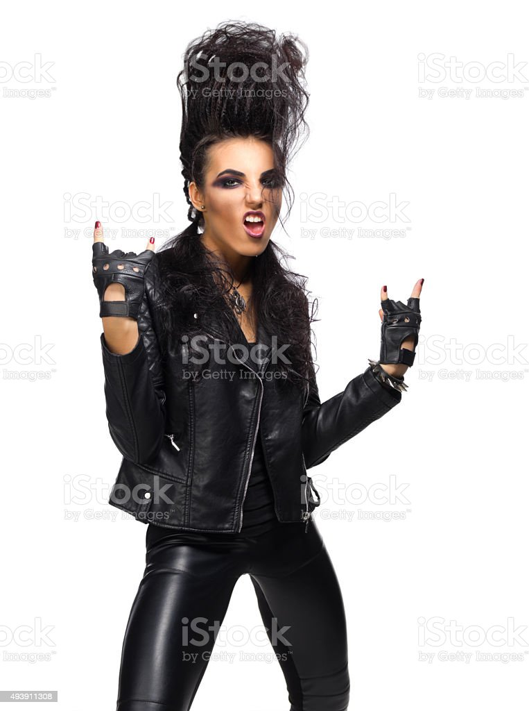 Rock musician in leather clothing stock photo