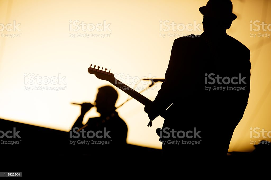 Rock Musician playing at a music festival royalty-free stock photo