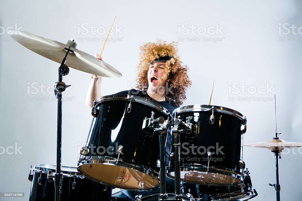Rock n Roll Drummer stock photo