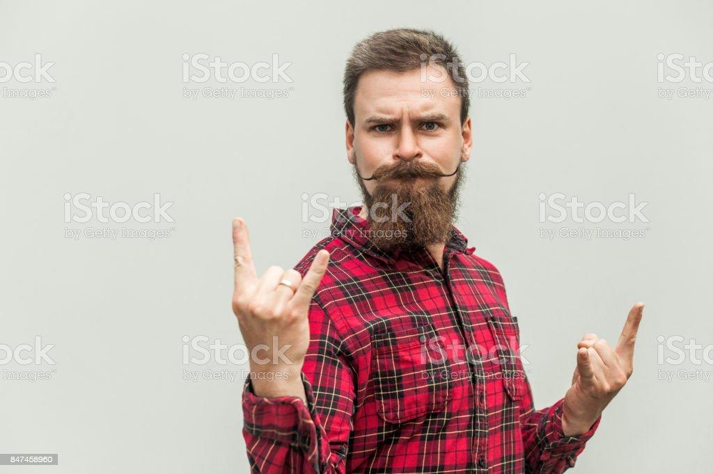 Rock ' n Roll. Lustige Geschäftsmann mit Bart und Schnurrbart – Foto