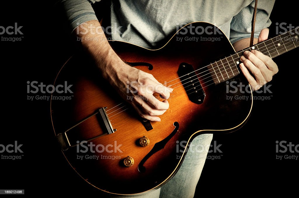 Rock 'n' Roll guitar on Black Background stock photo