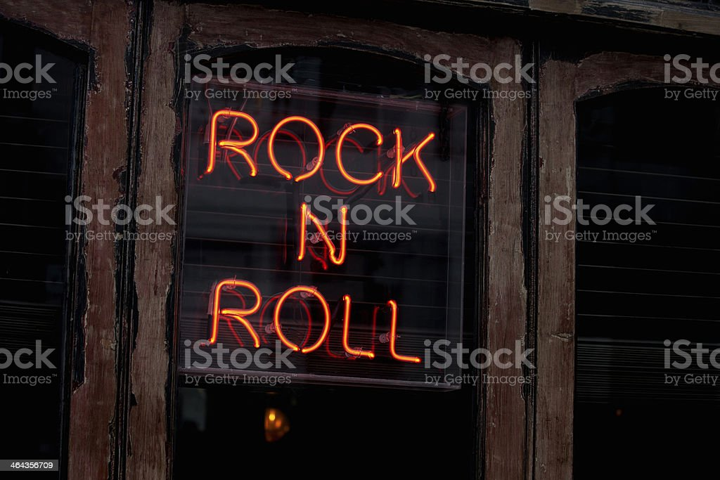 Rock N Roll neon sign stock photo