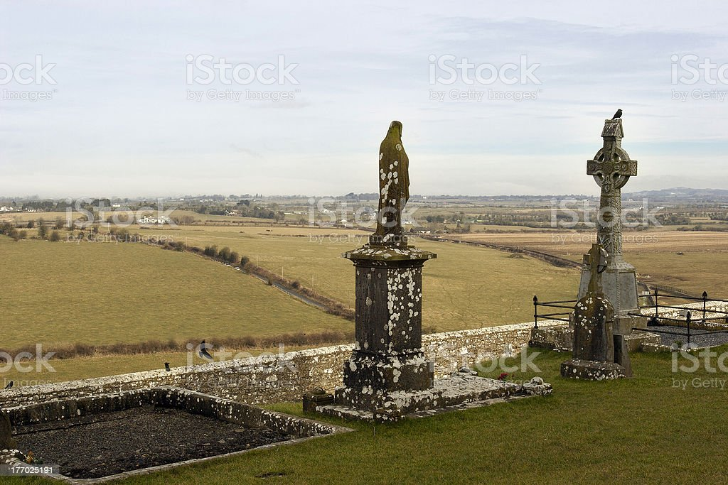 Rock of Cashel Christian Cemetery stock photo
