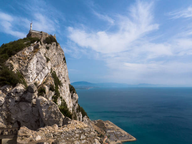 Rock of Gibraltar, view to Morocco stock photo