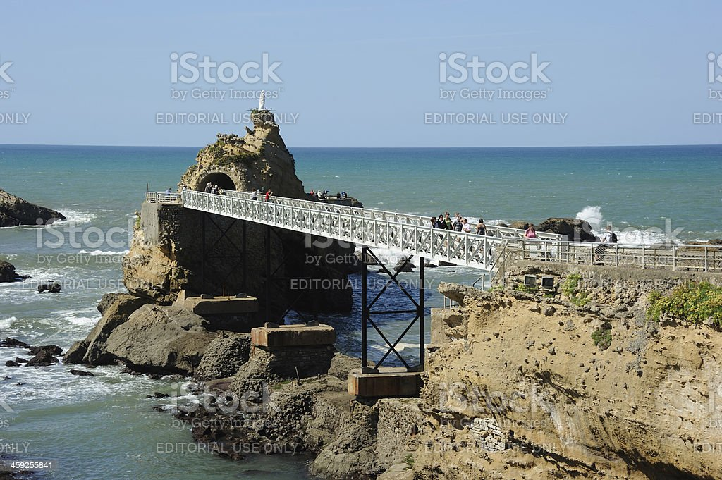 Rock of the Blessed Virgin in Biarritz stock photo
